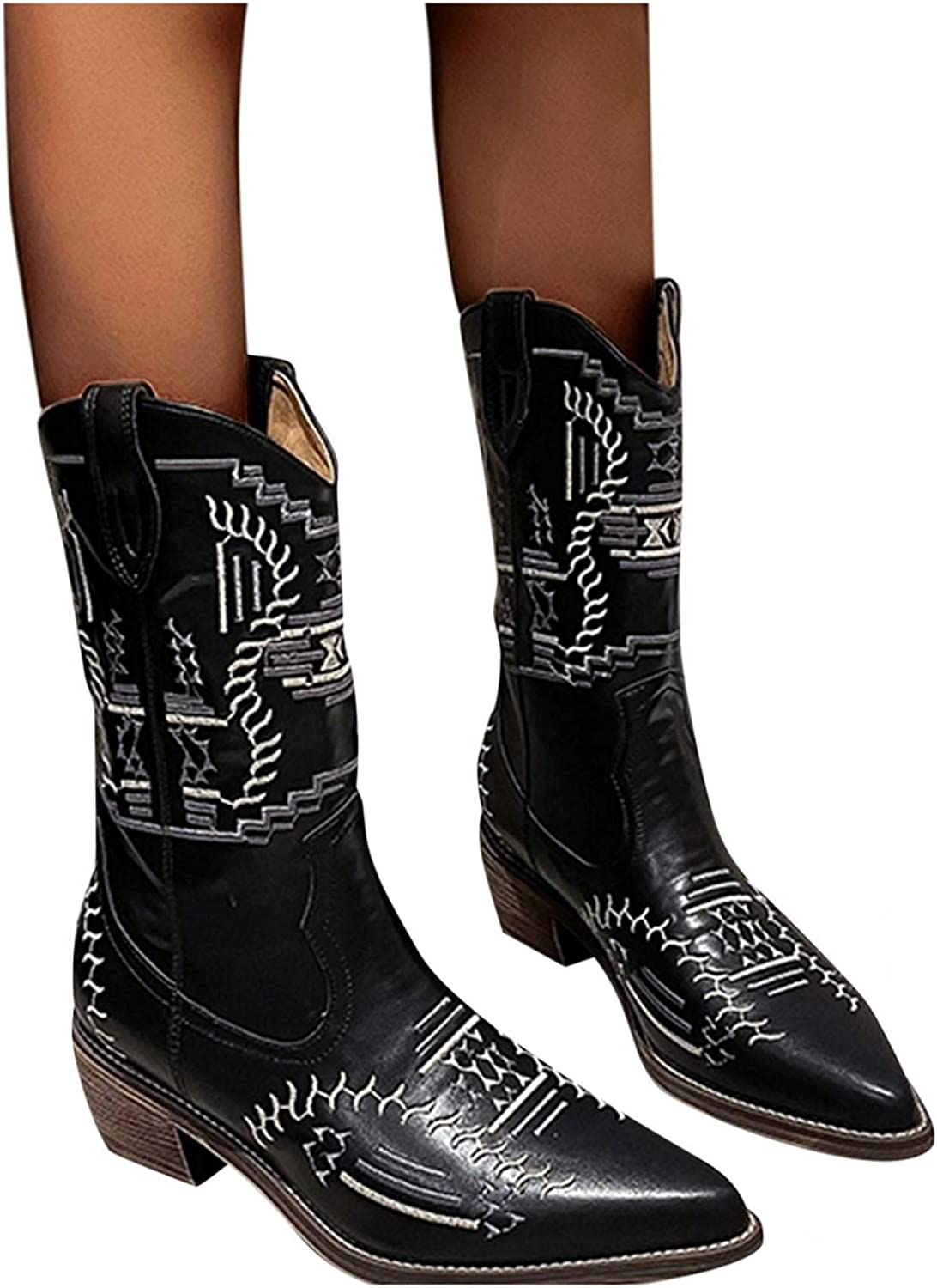 Niceast Cowboy Boots for Women Point Toe Mid Calf Boots Retro Comfortable Winter Fashion Boots Square Heels Riding Boots