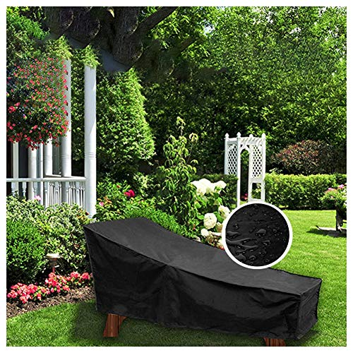 GZHENH-Rattan Furniture Covers ,Outdoor Garden Chair Cover Waterproof Anti-UV Cold-Resistant Leisure Chair Cover with Drawstring Windproof,2 Sizes (Color : Black, Size : 200x40x70x68CM)