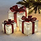 Sentik® Set of 3 LED Light Up Decorative Coloured Christmas Parcel Set with Bow Indoor Outdoor Decoration Xmas Lights (Silver & Red)