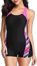 sand's coast Women's Boyleg One Piece Swimsuit Sport Pro Bathing Suit Athletic Racerback Swimwear for Teens with Shorts