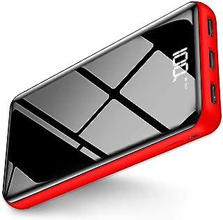 【令和最新型&25000mAh&鏡面仕上げデザイン】モバイルバッテリー 大容量 PSE認証済 LCD残量表示 2入力ポート(Tpye-CとMicro) 3USB出力ポート(5V/2.4A) 持ち運び充電器 iPhone/iPad/Android...