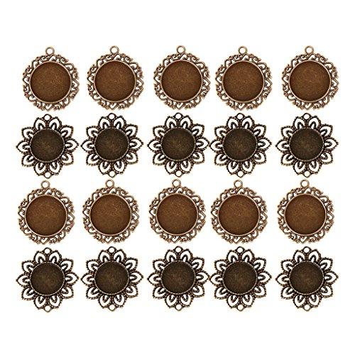 Bonarty 20 Piezas de Bronce con Forma de Flor, Camafeo, Cabujón, Colgante, Bandejas en Blanco, Base para Bricolaje, Collar, Pulsera, Pendientes