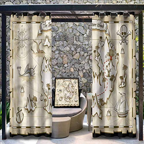 Anmaseven Island Map Polyester Patio Outdoor Curtain for Outdoor Gazebo Skull Pirate Ship Kraken 96' W by 84' L(K245cm x G214cm)