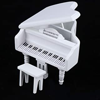 Haomian 1:12 Mini Dollhouse Piano Dollhouse Miniature White Piano with Music Stool Musical Instrument Ornament Dollhouse M...