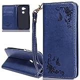 ISAKEN Huawei G8 Hülle, PU Leder Brieftasche Wallet Case Cover Ledertasche Handyhülle Tasche Schutzhülle mit Handschlaufe Standfunktion für Huawei G8 / Huawei GX8 - Rose Schmetterlinge Dunkelblau