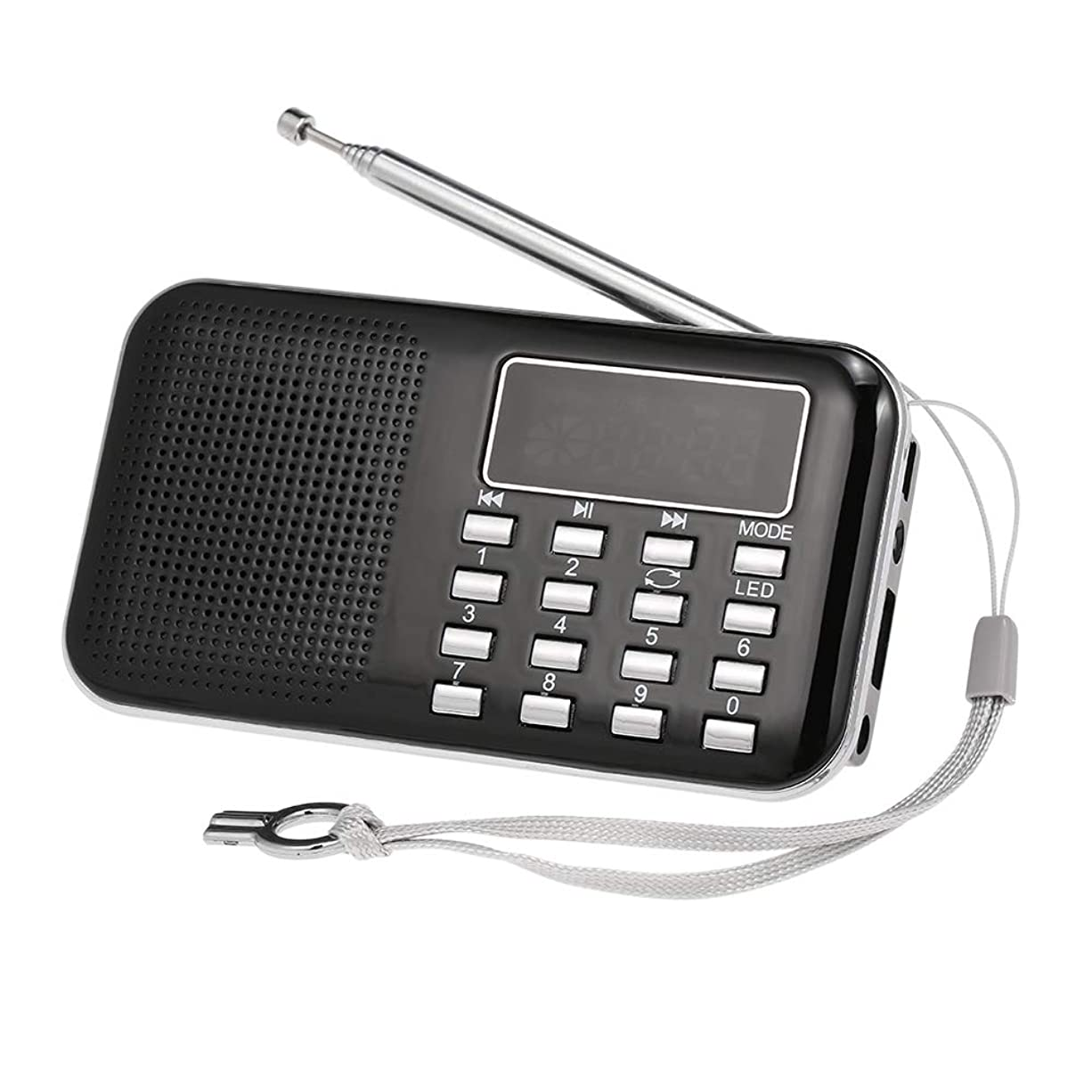 むさぼり食う名義で等しいKKmoon Y-896ミニFMラジオ デジタルポータブル 3Wステレオスピーカー MP3オーディオプレーヤー ハイファイサウンド 品質w/2インチ ディスプレイスクリーン サポートUSBドライブTFカードAUX入力 イヤホン出力