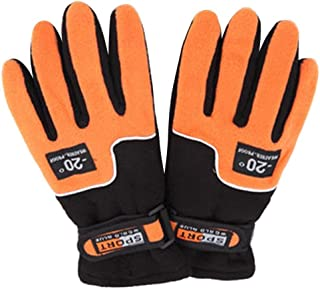 SODIAL Adjustable Gloves Ms Full Finger Outdoor Windproof Thermal Winter Ski Cycling Skiing Hiking」ィOrange」ゥ
