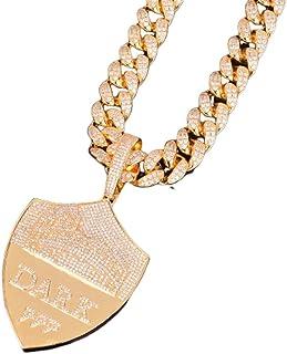 KMASAL Collana con Pendente a Forma di Scudo ghiacciato con Gioielli Moca Collana in Oro 18 carati con Diamanti Simulati c...