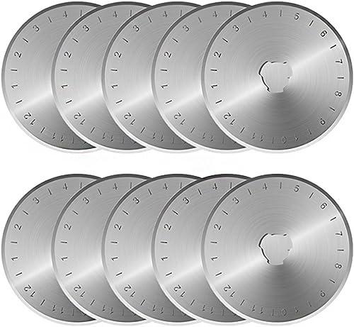 KISSWILL Rotary Cutter Blades 45mm, 10 Pack 45mm Rotary Blades Fits Fiskars, Olfa, Martelli, Truecut, DAFA Replacemen...