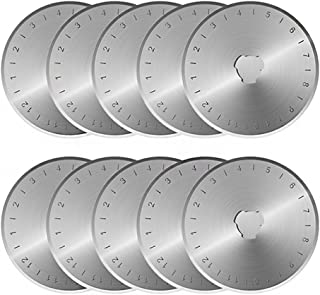 KISSWILL Rotary Cutter Blades 45mm, 10 Pack 45mm Rotary Blades Fits Fiskars, Olfa, Martelli, Truecut, DAFA Replacement, Quilting Scrapbooking Sewing Arts & Crafts, Sharp and Durable