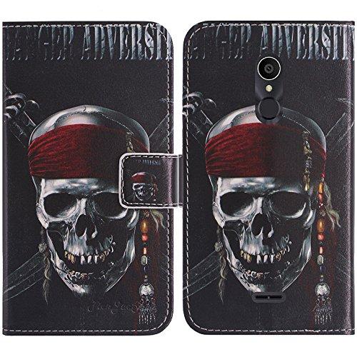 TienJueShi Totenkopf Flip Book-Style Brief Leder Tasche Schutz Hulle Handy Case Abdeckung Fall Wallet Cover Etui Skin Fur Alcatel 3C 5026D-2AALWEI 6 inch