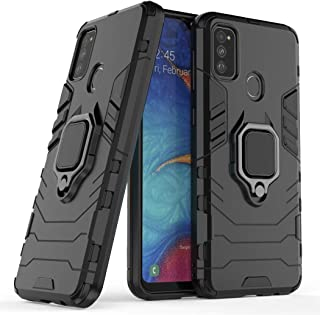 Compatible with Samsung Galaxy M30S, Galaxy M21 Case, Metal Ring Grip Kickstand Shockproof Hard Bumper (Works with Magneti...