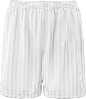 ND Sports, 2 Years, 5870 Shadow Stripe Gym Sports Games School PE Shorts Unisex White 2-3 Years
