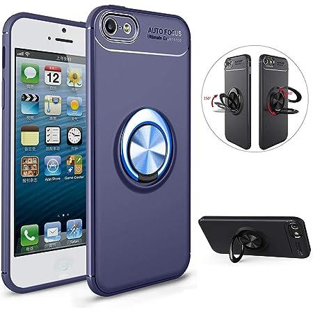 LCHDA Cover iPhone 5 Anello Supporto,Custodia iPhone 5S SE con Supporto Dita Rotondo 360 Gradi Rotazione Magnetica Metallo in Silicone Morbido Dietro ...