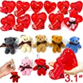 "28 Pack Mini Bear Stuffed Toys Filled Valentines 3"" Large Heart With 7 Colors Plush Animal Keychain Toys Decoration Valentine Cards For Kids Valentines Day Classroom Gifts Exchange Prizes Party Favors"