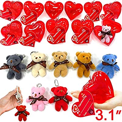 """28 Pack Mini Bear Stuffed Toys Filled Valentines 3"""" Large Heart With 7 Colors Plush Animal Keychain Toys Decoration Valentine Cards For Kids Valentines Day Classroom Gifts Exchange Prizes Party Favors"""