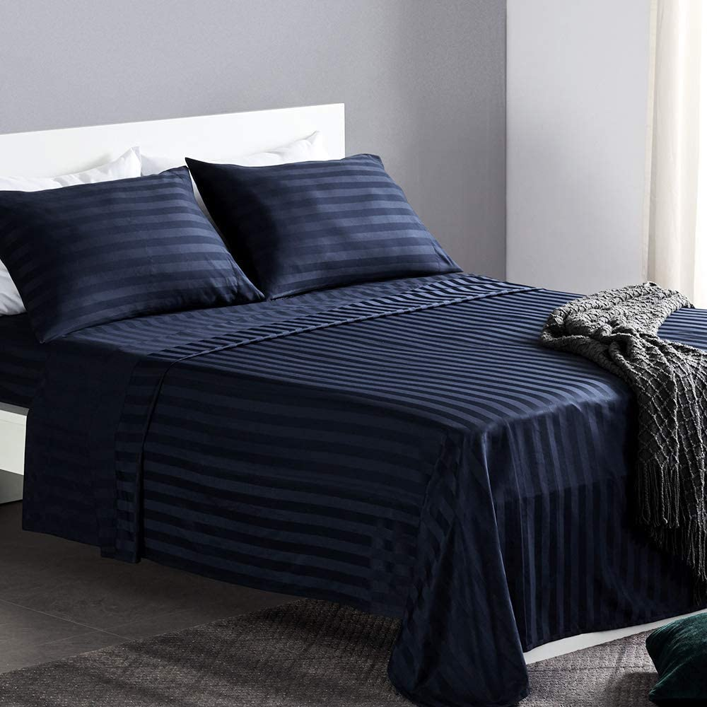 SLEEP ZONE 4-Piece Striped Bed Sheet Set - Hotel Luxury Soft & Cooling Microfiber Bed Linen Set - Wrinkle Free Fade Resistant Easy Care (Navy Blue, Full)