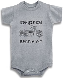 Gray Crew Neck Baby Tee Time Boys' Does your dad even ride Chopper One piece