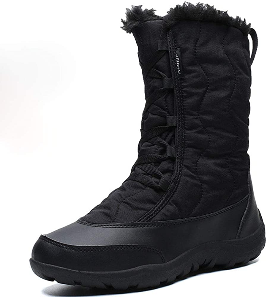 Vimisaoi Snow Boots for Women,Lace Up Low Heel Work Combat Boots, Winter Warm Outdoor Shoes, Waterproof Ankle Boots