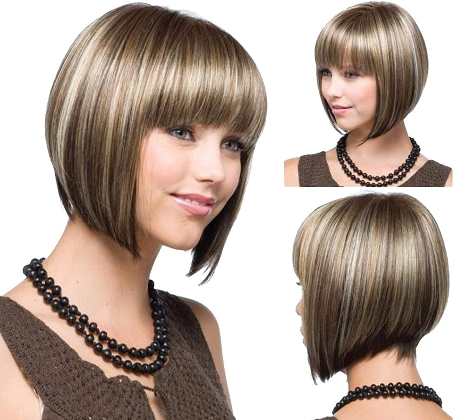 AISHUAIGE 32cm Girl Bob Blonde Hair Wig Stylish Short Straight Ombre Blonde Synthetic Wigs for Women Costume Party with Free Wig Cap