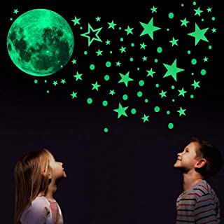 MQUPIN 435PCS Glow in The Dark Stickers,Luminous Dots Stars and Moon Wall Stickers,DIY Ceiling Decal Murals,Perfect for Kids,Bedding Room,Party and Birthday Gift