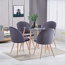 GOLDFAN Zestaw 5 szt. stół i krzesła nowoczesny stół kuchenny z hartowanego szkła z poduszkami PU krzesło do jadalni, 90 c...
