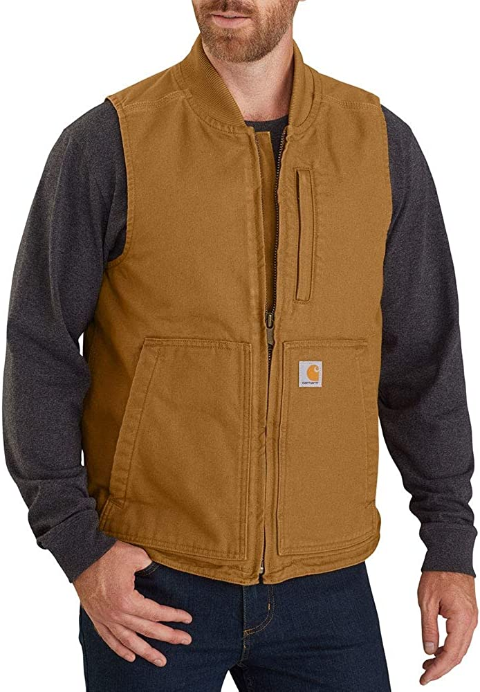 Carhartt Men's Loose Max 85% Sales results No. 1 OFF Fit Washed Duck Collar Rib Vest Insulated