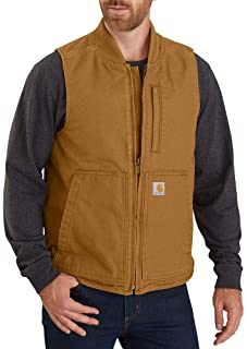 Carhartt mens Loose Fit Washed Duck Insulated Rib Collar Vest