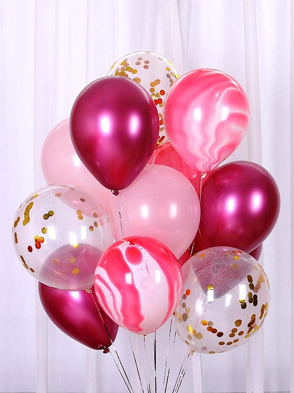 BALONAR 50pcs 12inch Pink Agate Latex Balloons Gold Pre-Filled Confetti Balloons and White Latex Balloons Burgundy Wine Red Latex Balloons Perfect for Happy Birthday Party Wedding Supplies Ceremony ykyhwjhzof3370