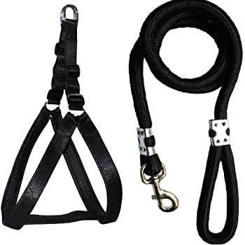 Skora Nylon Padded Adjustable Dog Harness and Leash Rope (1.25 Inch, Black)