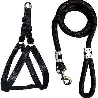 Skora Nylon Padded Adjustable Dog Harness and Leash Rope (1.25 Inch, Black)
