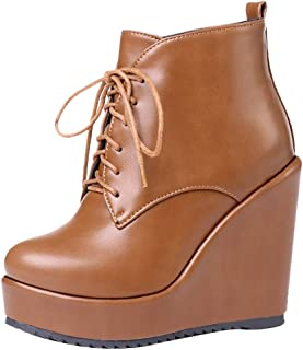 VulusValas Women Wedge Heel Ankle Boots