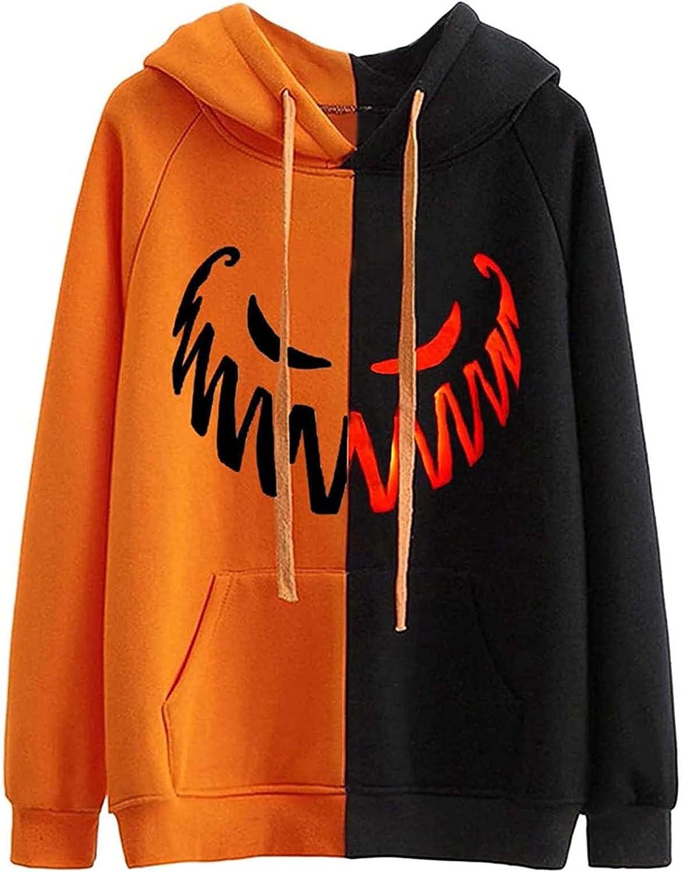 Women Halloween Pumpkin Print Oversized Sweatshirt Hoodies E Girl Aesthetic Jackets Coat Streetwear Top