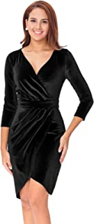 Women's Long Sleeve Velvet Bodycon Wrap Dress for Wedding Guest