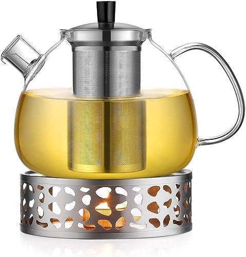 Hitzebeständige Glas Teekanne Platz Blume Teebereiter Glaskanne+Edelstahl Filter