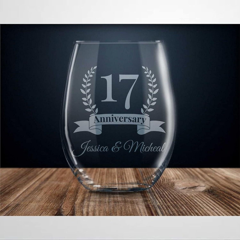 17 Genuine Year Anniversary Gift Stemless Gi Wine Max 70% OFF Glass 17th