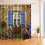 CDHBH Duschvorhang mit 3d-Digital-Druck, Garten & zu Fenster & Blumen, Stein-Schimmel reißfestem Nylon-Deko-Gardinen mit: 71x 71cm