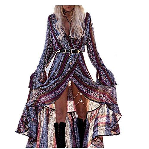 Sweetwill Boho Maxikleid Blumen Lange Sommerkleider Damen Maxi Strandkleid Casual Langarm V-Ausschnitt Kleid für Frauen (Einheitsgröße 1, Farbe 1)