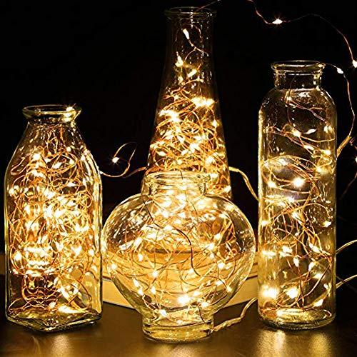 QPOWY Luces de Cadena de Alambre de Cobre LED 1M 2M Luces de Hadas con Pilas Navidad Guirnalda Fiesta Boda Vidrio Artesanía Botella Decorativa