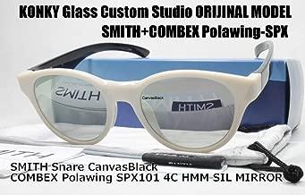カスタム偏光サングラス SMITH スミス Snare CanvasBlack スネア/COMBEX Polawing SPX101 CR 4C HMM フェザーグレイSILミラー