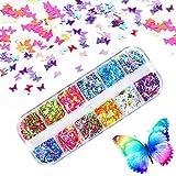 Kalolary 12 Colori Farfalla Glitter Unghie, glitter per unghie nail art Punte del manicure delle decorazioni DIY Decalcomanie decorazione per viso corpo occhi (C)