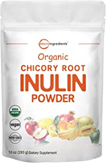 Organic Daily Prebiotic Dietary Fiber Supplement Powder, (Inulin Fiber from Chicory Root), 10 Ounce, Highly Promote Intest...