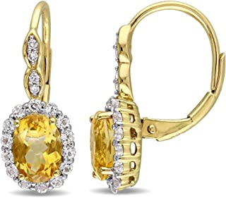 Citrine and White Topaz 2 1/4 Carat (ctw) LeverBack Earrings with Diamonds in 14K Yellow Gold