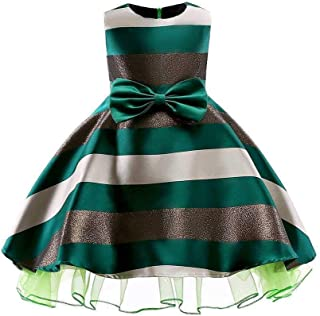 SEASHORE Girls 3-9 Years Bowknot Princess Dress Satin Flower Girl Wedding Costume Piano Performance Clothing (Color : Green, Size : 4-5Years)