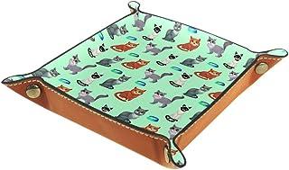 Boîte de bureau pliable en cuir PU avec plateau à rouler pour jeux de table Motif chats assis Marron avec bols