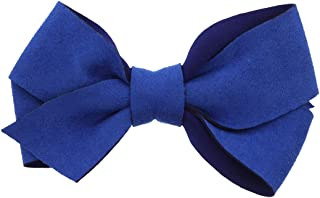 Small Suede Scuba Hair Bow For Girls Royal