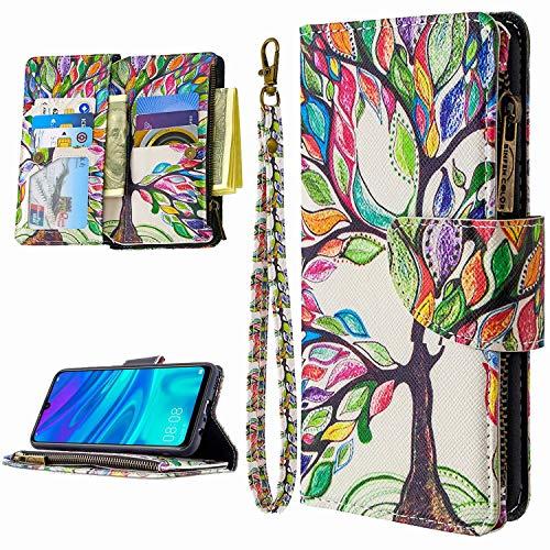Miagon 9 Kartensteckplätzen Lederhülle für Samsung Galaxy S10 Lite,Bunt Reißverschluss Flip Hülle Wallet Case Handyhülle PU Leder Tasche Schutzhülle,Baum