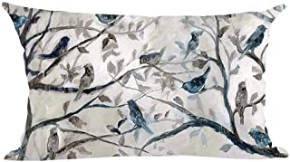 Ramirar Ink Painting Watercolor Blue Grey Lovely Birds Tree Leaves Decorative Lumbar Throw Pillow Cover Case Cushion Home ...