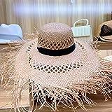 Playa de la cinta grandes del verano al aire libre sombrero de Sun del borde de rafia Sombrero de sol ahueca hacia fuera el sombrero elegante Floppy Fedora del sombrero de paja de protección UV con fl