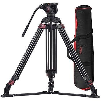 159 cm Carbon Fiber Tripod with Carry Bag ACC Video Camera Tripod 360 Degree Fluid Drag Head and 15 LB Load for DSLR Cameras
